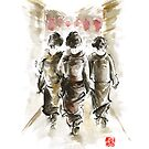 Geisha Geishas Japanese woman in kimono walking on street original Japan painting art by Mariusz Szmerdt