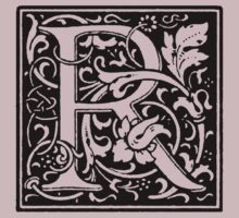 William Morris Renaissance Style Cloister Alphabet Letter R by Pixelchicken