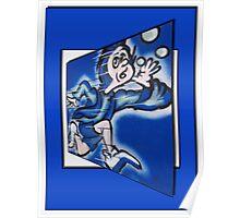 blue boy runnin' Poster