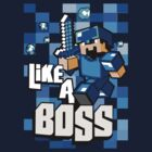 Blue teal 8bit game Boss by Johnny Sunardi