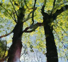 Springtime Morning With Twin Forest Trees  by Jean Gregory  Evans