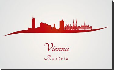 Vienna skyline in red by Pablo Romero