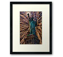Liberty Fireworks Framed Print