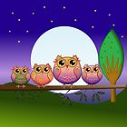 Cute Full moon Owl family on a branch by walstraasart
