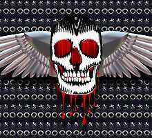 Skull with chromed wings on leather by creativedesignz