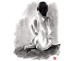 Woman geisha erotic act 女性 Japanese ink painting by Mariusz Szmerdt