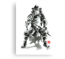 Samurai sword bushido katana armor silver steel plate metal kabuto costume helmet martial arts sumi-e original ink painting artwork Canvas Print