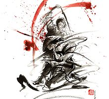 Samurai sword bushido katana martial arts sumi-e original fight ink painting artwork by Mariusz Szmerdt