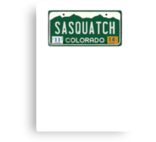 Colorado Sasquatch License Plate  Canvas Print