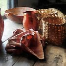 Clay Pitchers, Bowl and Baskets by Susan Savad