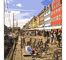 View along Nyhavn, Copenhagen by Tim Constable by Tim Constable