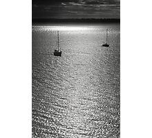 Sailboat on the sea at sunset black and white film - Navi sull'argento Photographic Print