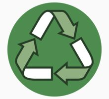Recycling recycle symbol, green and white on green background by Mhea