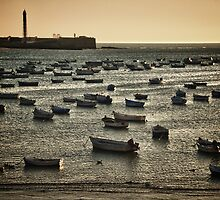 Boats in the bay at sunset in the Atlantic Ocean Cadiz Spain sea under orange sky color fine art - Galleggiando sull'Estate by visionitaliane