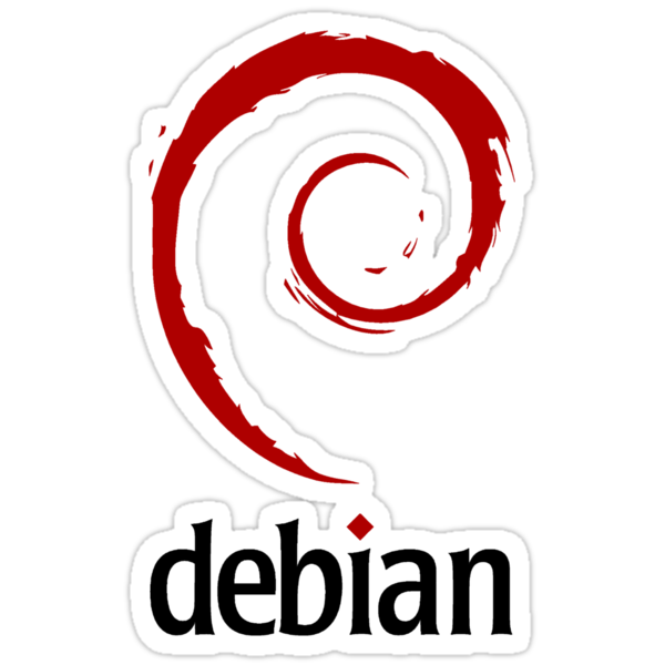 "Debian - Original logo but dark red color, includes ""debian"" black text by carrascord"