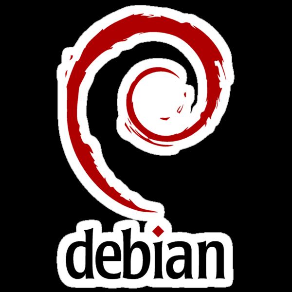 "Debian - Original logo but dark red color, includes ""debian"" black text by carrascord"