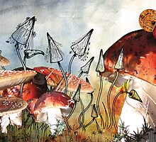Snail on a Mushroom Poster by Maria Forrester