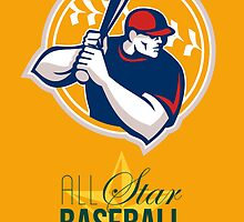 All-American Star Baseball Retro Poster by patrimonio