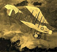 "A sepia digital painting of a Royal Flying Corps Vickers F.B.5  ""Gunbus"" 1914 by Dennis Melling"