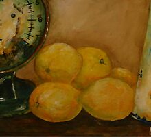 Still life with Lemons and Old Kitchen Scale by Sonja Peacock