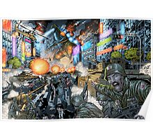 Godzilla Stomps Tokyo by Al Rio Poster