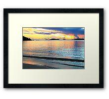 Shimmering Caribbean Sunset Seascape Framed Print