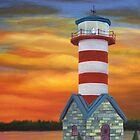 Grafton Illinois Lighthouse at Sunset by John Marcum