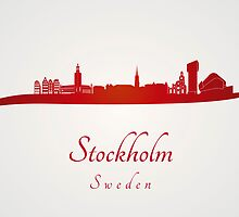 Stockholm skyline in red by Pablo Romero