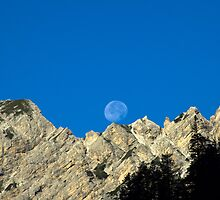 Moon rising over the Dolomites nature fine art white rock blue sky - Sorge la Luna by visionitaliane