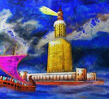 A digital painting of Pharos One of the Seven Wonders of the Ancient World by Dennis Melling