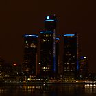 Detroit - Night And The City Skyline by Barry W  King