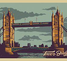 Tower Bridge vintage style illustration by glpHQ