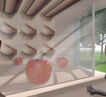 Room with lashes and oversized apples  by Lawrence Alfred Powell