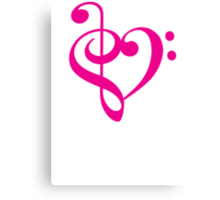 Treble-Bass Heart PINK Canvas Print