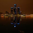 Detroit Skyline by Christmas Night, by Elisabeth and Barry King™ by BE2gether