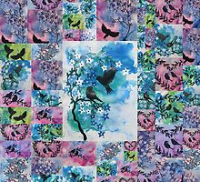 blue, pink, green watercolors by cathyjacobs