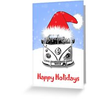 VW Camper Happy Holidays Blue Greeting Card