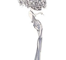 Fashion Illustration 'Blue Willow Dress' Fashion Art by Alex Newton