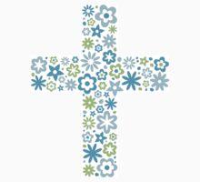 Blue floral flower cross sticker by Mhea