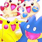 Plusle Minum Munchlax and Pikachu by rosawithlie