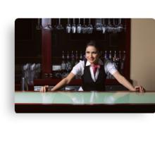 Beautiful bartender Canvas Print