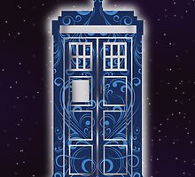 Blue Filigree TARDIS by Christina McEwen