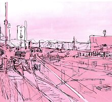 pink - huddersfield train station (2) by H J Field