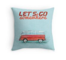 Volkswagen Bus Samba Vintage Car - Hippie Travel - Let's go somewhere Throw Pillow