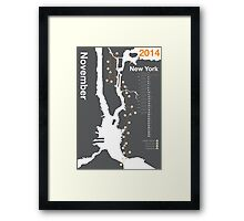 New York City Marathon Map 2014 Framed Print