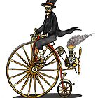 STEAMPUNK PENNY FARTHING BICYCLE BIRTHDAY CARD by squigglemonkey