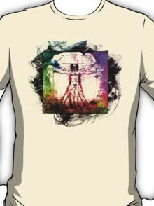 Colorful Grunge Vitruvian Man - Leonardo Da Vinci Tribute Art T Shirt - Stickers T-Shirt