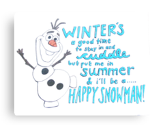 Happy Snowman Canvas Print