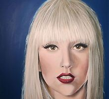 Lady Gaga portrait on blue by Carole Russell