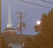 Rehoboth Steeple at Night by ArtByLes